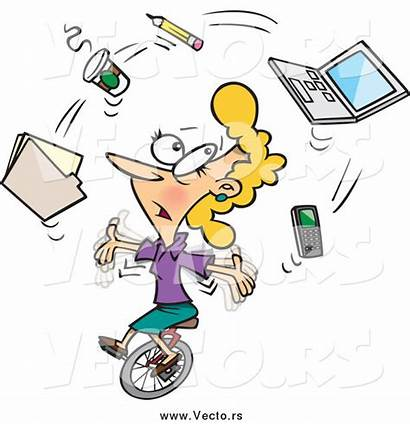 Busy Cartoon Office Juggling Clipart Secretary Unicycle