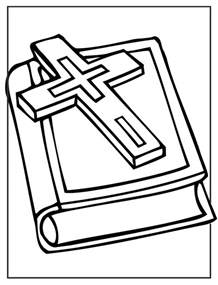 Free Bible and Cross Coloring Page