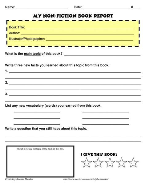Grade 4 Book Report Template Non Fiction  Book Reports  Pinterest  Fiction Books, Book