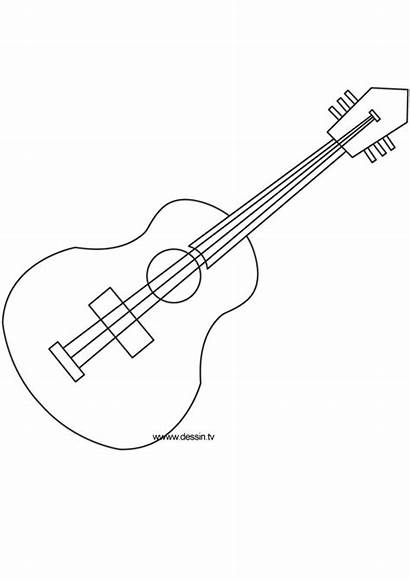 Guitar Coloring Pages Acoustic Template Printables Guitars