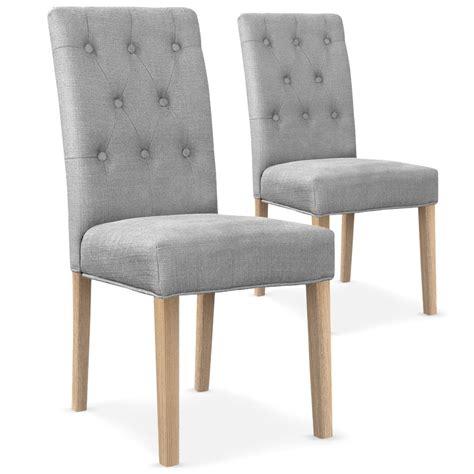 chaise capitonnée tissu gris clair kotal lestendances fr