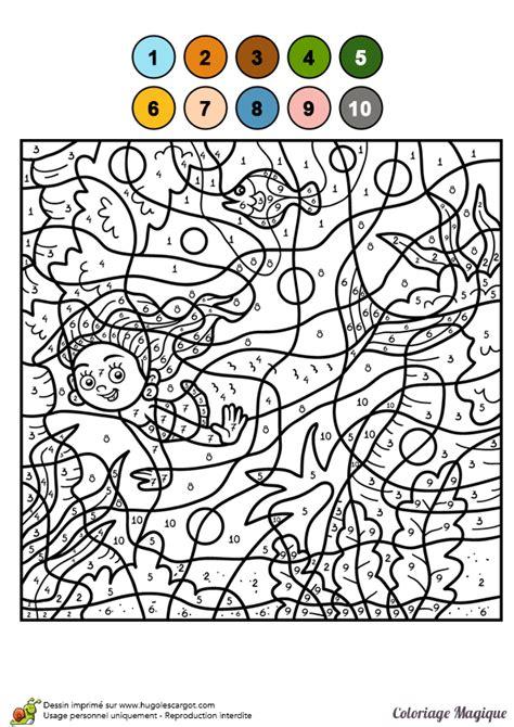 Dessin à Colorier D'un Coloriage Magique Cm2, Une Sirène