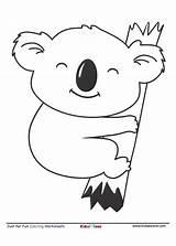Koala Coloring Kidzezone Cartoon Koalas Animals Simple Worksheet Letter Bear Friends Tree Hugging Australia sketch template