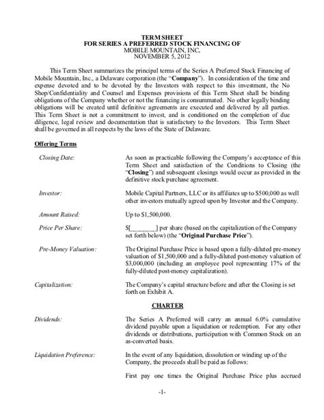 Construction Vesting Certificate Template by Tcn Model Term Sheet