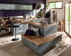 Cuisine ilot central 12 photos de cuisinistes cote maison for Idee deco cuisine avec meuble jardin conforama