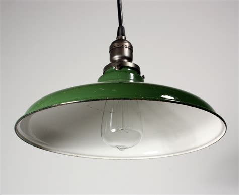 Antique Industrial Pendant Light With Green Enamel
