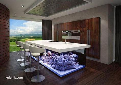 cuisine de luxe moderne nautical theme for modern kitchen design with aquarium