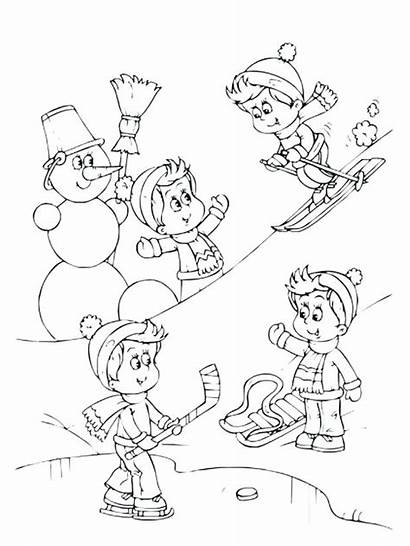 Coloring Outdoor Pages Snowball Fight Scene Getcolorings