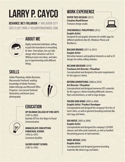 Larry Page Curriculum Vitae by Cv 2012 By Larry Cayco Via Behance Great Cv Behance And Galleries