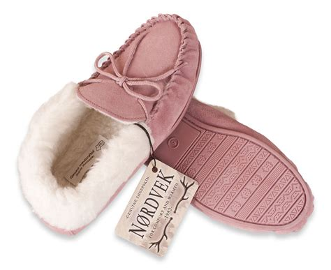 Nordvek Womens Genuine Suede Moccasin Slippers Sheepskin