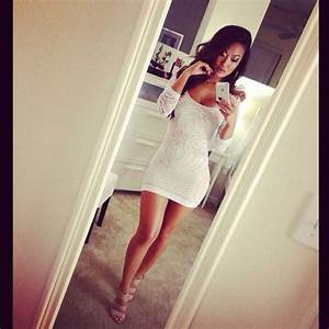 Dress: white, lace like, cute, tight, short, lace, bodycon ...