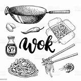 Wok Drawing Vector Box Chinese Chopsticks Chop Illustration Lettering Isolated Clip Asian Cooking Illustrations Noodles Clipart Asia Vectors Royalty Menu sketch template
