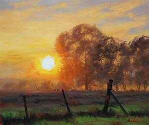 Farm Sunrise Painting by artsaus on DeviantArt