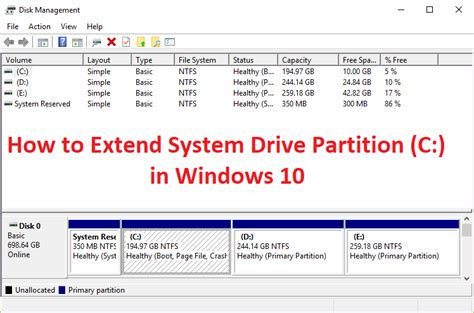 how to extend system drive partition c in windows 10