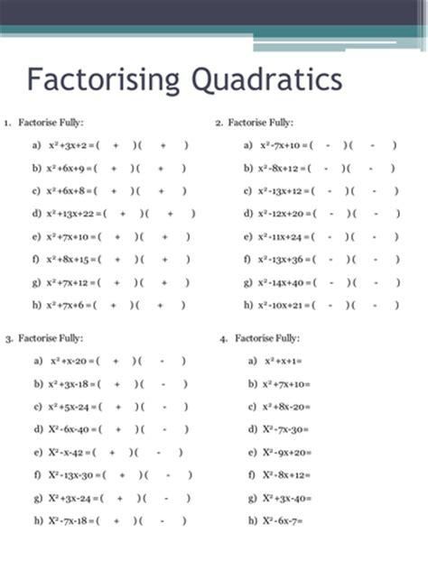 Factorising Quadratics Worksheets By Holyheadschool  Teaching Resources