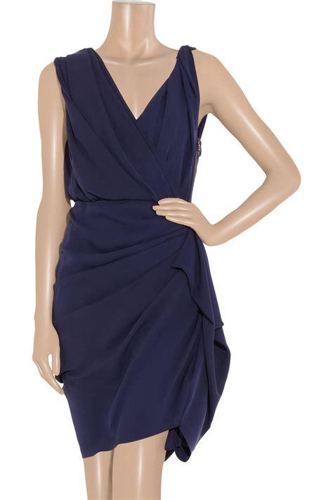 Lanvin Draped Dress - lanvin silk draped dress in indigo blue lyst
