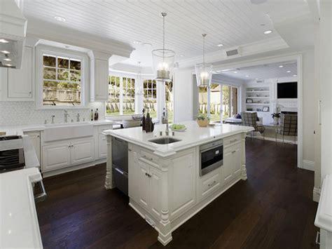 White Kitchen Countertops Dark Hardwood Floors