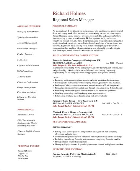 Regional Sales Manager Resume by Sle Sales Manager Resume 9 Exles In Word Pdf