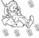 Swing Coloring Drawing Little Summer Kid Colour Drawings Getdrawings April sketch template