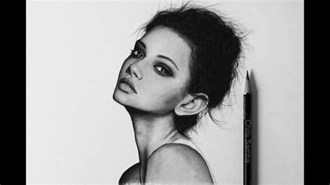 Female Face Pencil Charcoal Drawings