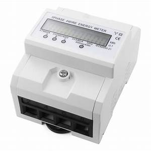 230v Lcd 3x5 80a  Din Rail 3 Phase Kilowatt Hour Kwh Electric Energy Meter Te555