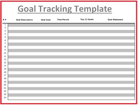 goal tracking templates   printable word excel