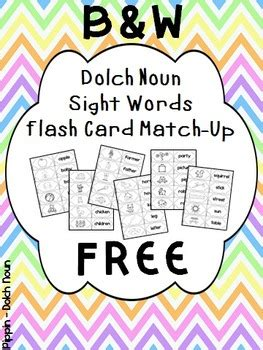 dolch noun sight word flash cards bw  tracy