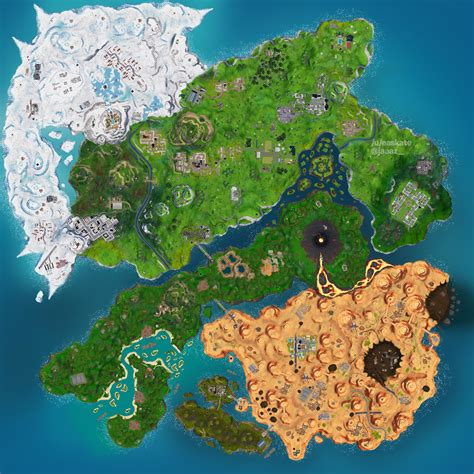 fortnite islands map concept featuring    pois