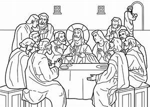 Dibujos de la Ultima Cena de Jesús para pintar Colorear imágenes