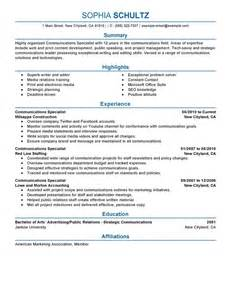 communication specialist resume sle best communications specialist resume exle livecareer