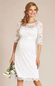 Amelia lace maternity wedding dress short ivory for Maternity dresses for wedding