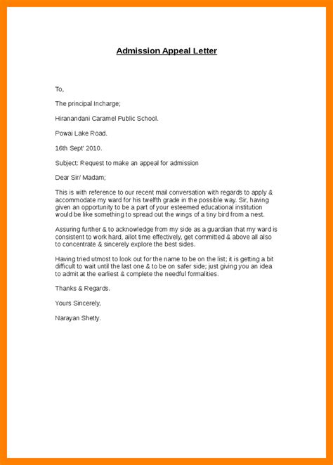 sample appeal letter  college admission appeal letter