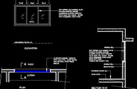 sliding window dwg plan autocad designs cad