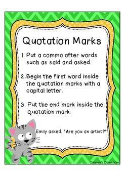 quotation marks anchor chart   carmens classroom tpt