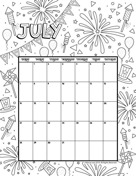 July 2019 Coloring Calendar Coloring pages Calendar