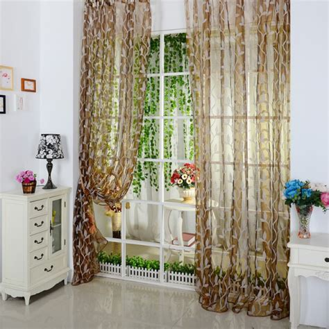 Sheer Voile Curtains Uk by Leaf Pattern Voile Window Curtain Sheer Voile Room Panel