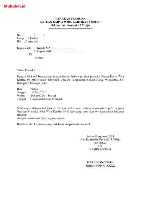 contoh surat dispensasi definisi format surat dispensasi