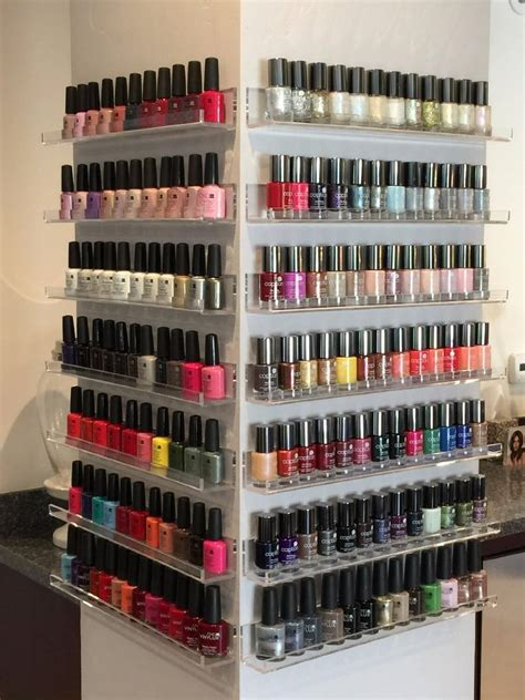 nail display rack acrylic nail rack wall mount holds 45 bottles