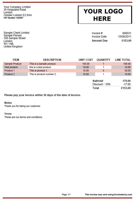 invoice template  red  gray invoiceberry blog