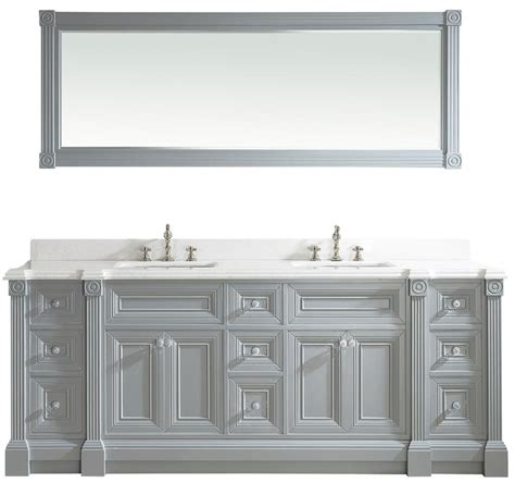 solid hardwood furniture 84 inch gray finish sink bathroom vanity cabinet