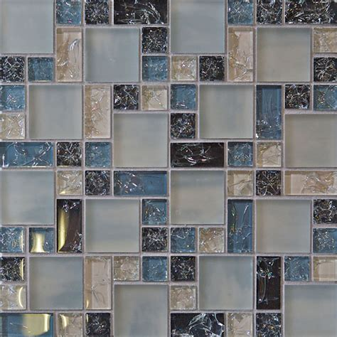 Sample Blue Crackle Glass Mosaic Tile Kitchen Backsplash