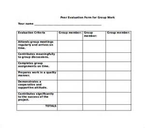 Peer Group Evaluation Form Template