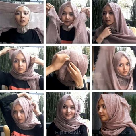 tutorial jilbab segi empat rawis simple jilbab sederhana gaya rambut bob gaya hijab
