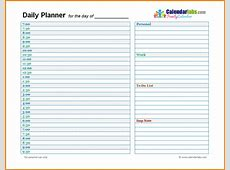 Free Printable Daily Planner Template Top Daily Planner