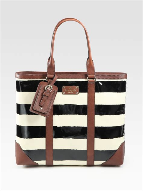 kate spade dama patent leather tote bag  brown lyst