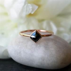 Square rose cut black diamond ring 14k yellow gold band for Wedding ring minimalist