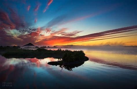 beautiful sunset iceland north