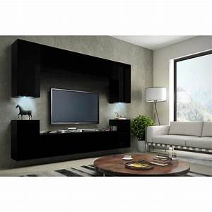 Meuble Salon Noir : meuble de salon meuble tv complet suspendu concept corps noir mat fa ades noires mat led ~ Teatrodelosmanantiales.com Idées de Décoration