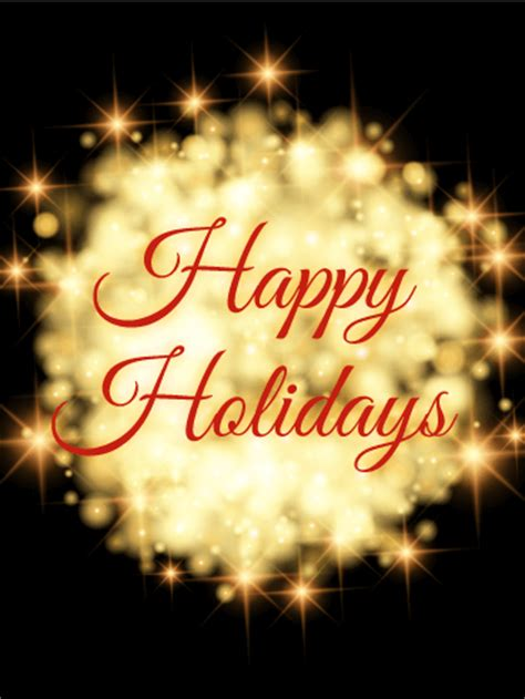 shining lights happy holidays card birthday greeting