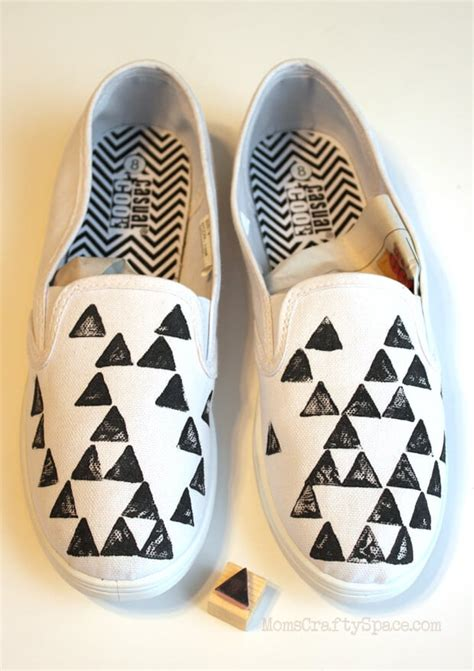 80s Inspired Geometric Stamped Shoes Tutorial Happiness